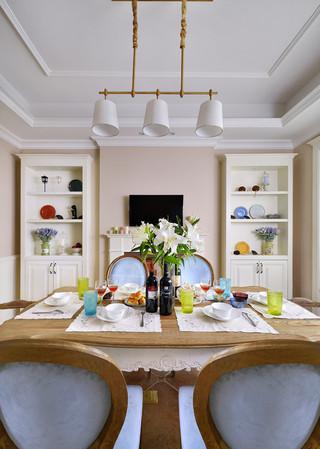 浪漫简约法式餐厅三头餐吊灯设计