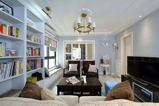 清新浪漫浅蓝色美式客厅装饰效果图