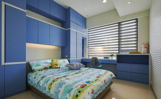 现代简约儿童房蓝色组合柜设计