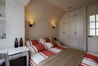 温馨韩式小碎花田园风卧室背景墙装饰