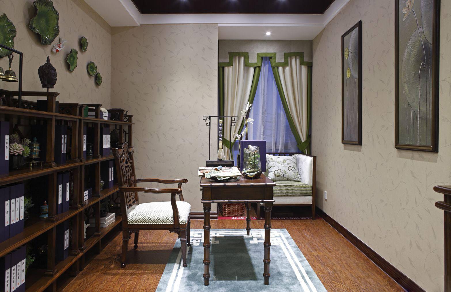 精致东南亚家居书房绿色窗帘效果图