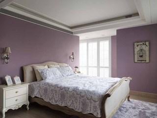 田园风格卧室紫色背景墙装饰图