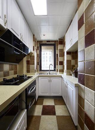 复古美式风格厨房米咖马赛克家装设计