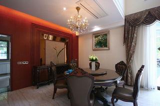 古典欧式风格餐厅红色背景墙造型设计