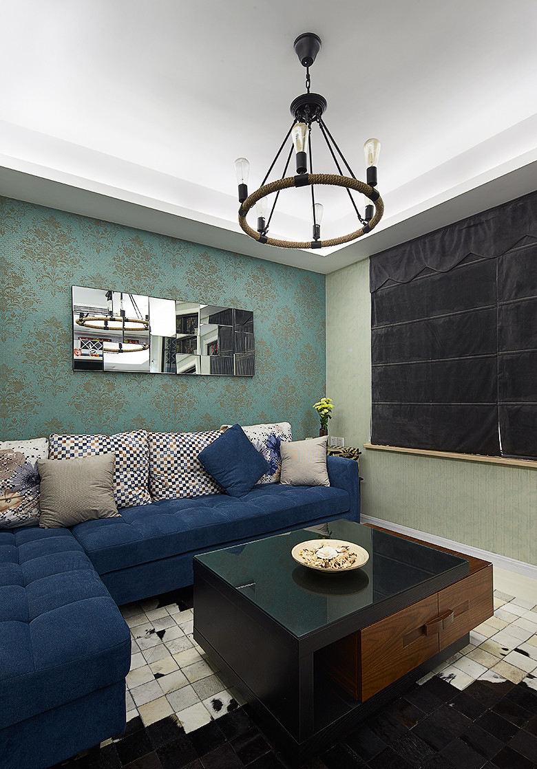 家居现代小户型客厅绿色壁纸装饰沙发背景墙