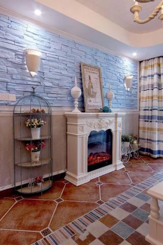 蓝色唯美地中海家居客厅壁炉装饰图