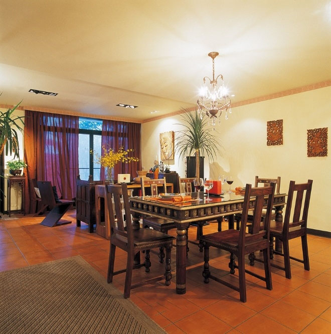 东南亚新古典设计客餐厅一体装饰效果图