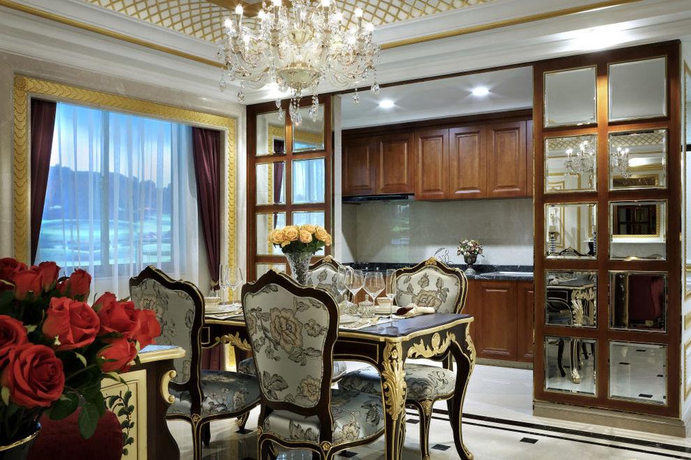 奢华新古典欧式餐厅厨房推拉门隔断装饰