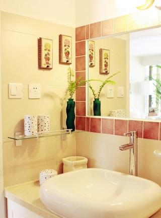 简朴田园风格洗手间小小置物架设计