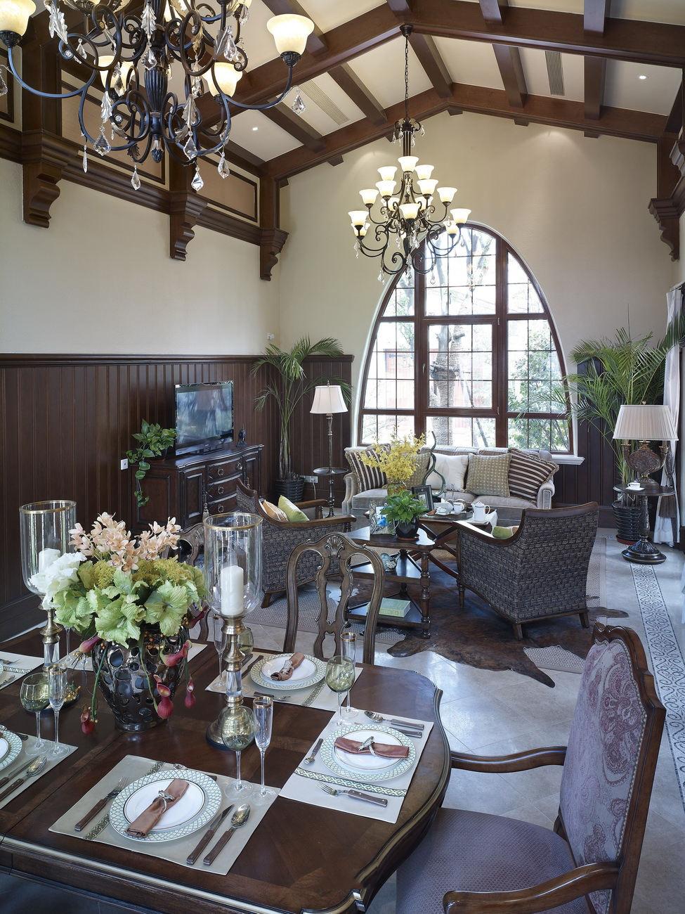 实木美式田园风客餐厅一体效果图