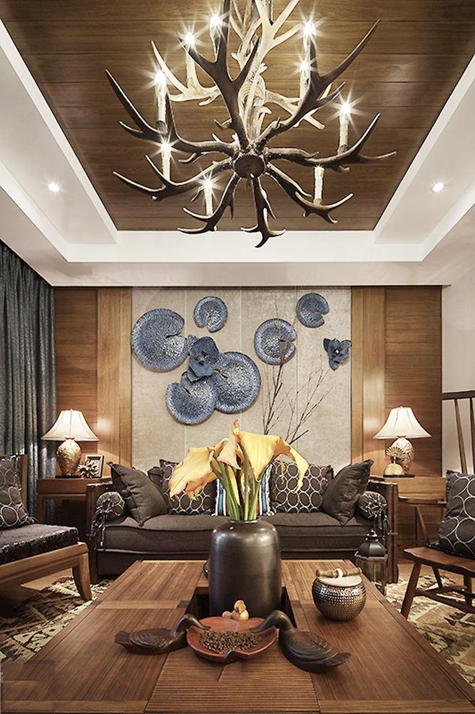 浪漫精致古典东南亚设计客厅吊顶大全