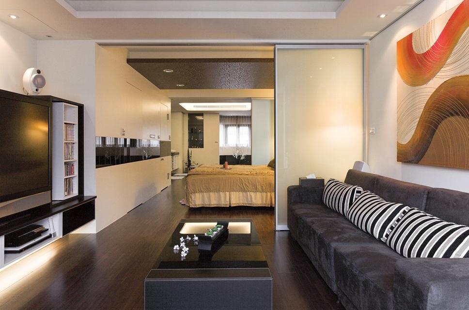 现代家装室内简易移门隔断装饰图