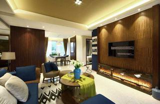 浪漫美式装修风格三室两厅装潢案例图