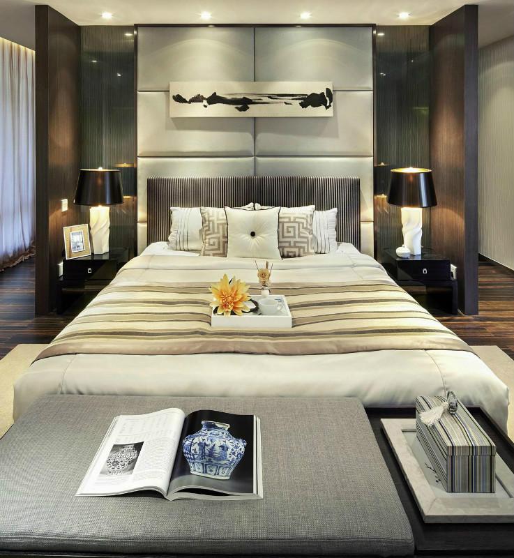 时尚现代雅致中式风格卧室背景墙设计图