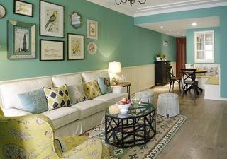 绿色清新田园美式二居室装修欣赏图
