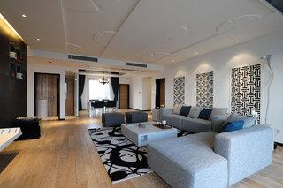 黑白时尚现代中式装修风格三居装修案例