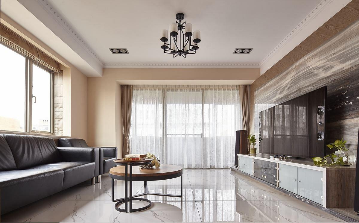 素色简约现代客厅装修效果图