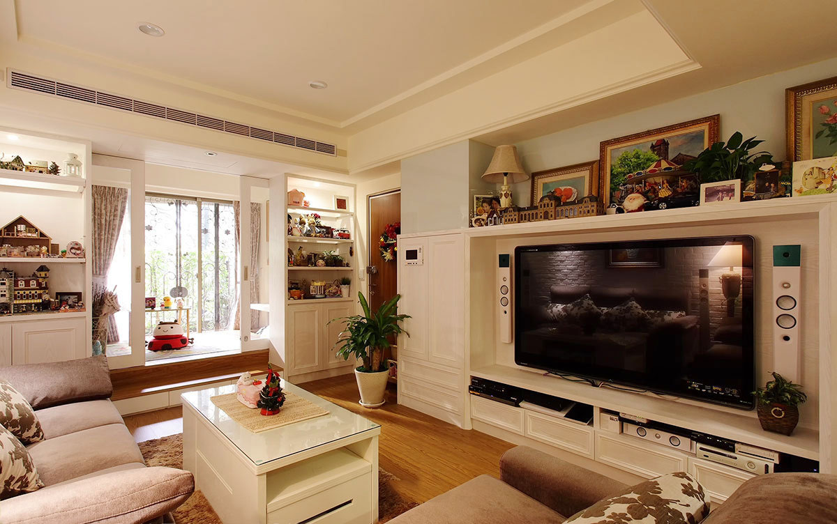 精致田园风小公寓客厅电视背景墙效果图