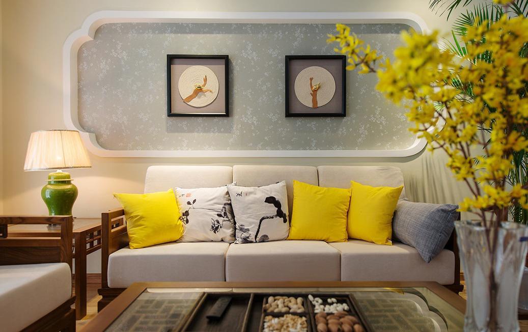 简约现代中式家装客厅相片墙设计装潢图
