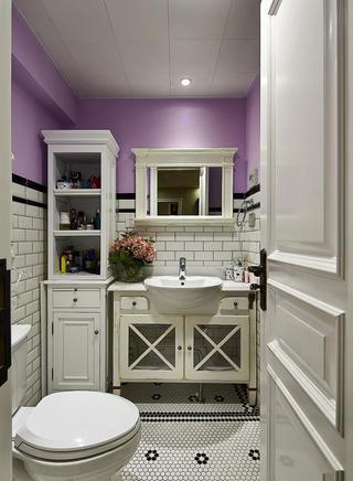 唯美浪漫紫色美式新古典卫生间墙面设计