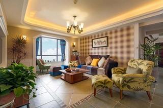 复古美式田园风客厅格子沙发背景墙装饰