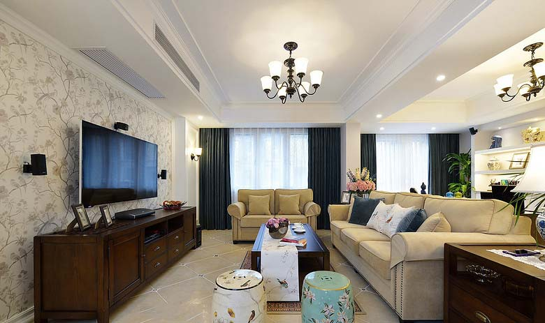优雅浪漫美式客厅装潢效果图大全