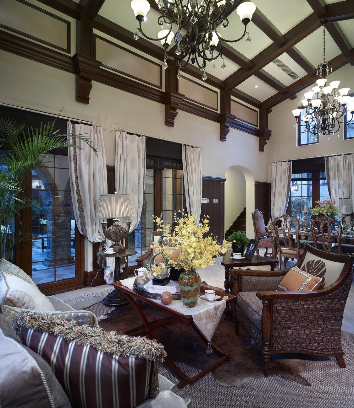 复古美式家居客厅沙发效果图