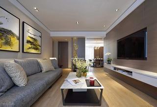 现代日式风格客厅电视背景墙设计