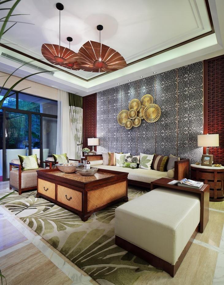 精美复古东南亚装修客厅背景墙效果图