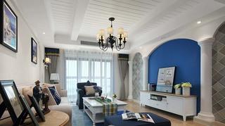 梦幻精致蓝白地中海风三室两厅美家欣赏