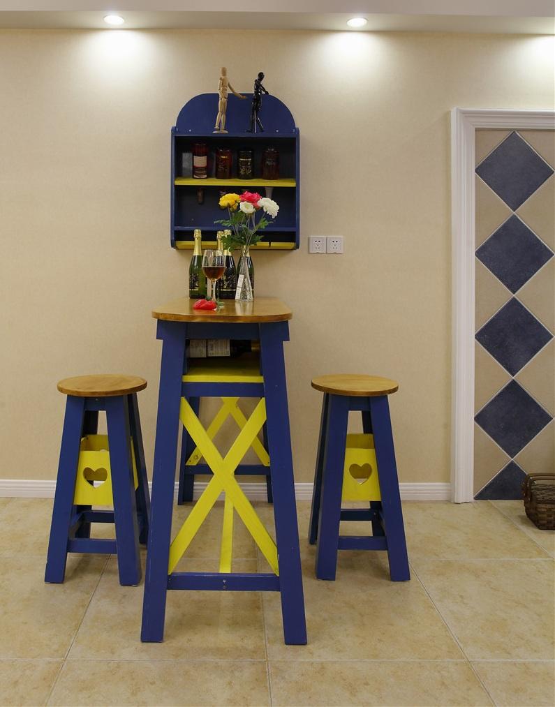 蓝色唯美美式家居吧台装潢效果图