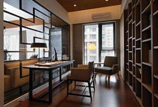 现代新中式书房博古架玻璃隔断设计