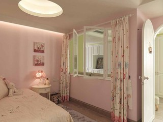 田园粉色儿童房窗户设计