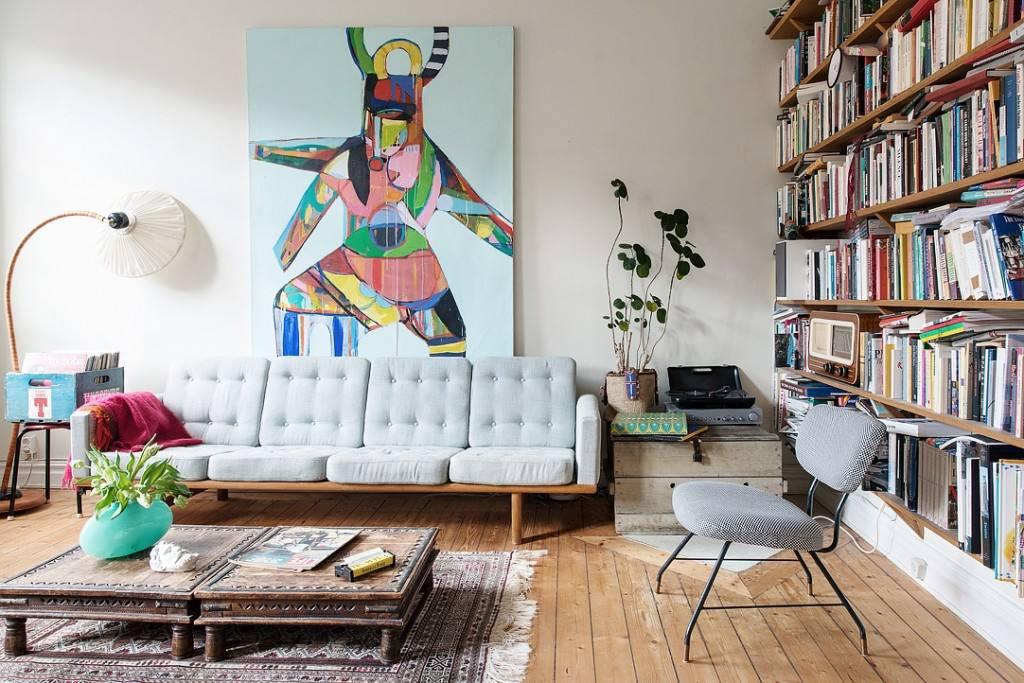 个性复古北欧风格客厅书房一体装饰设计