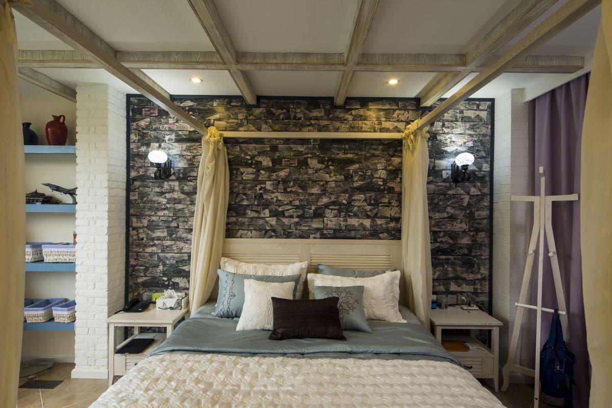 摩登地中海家居卧室黑色背景墙装饰
