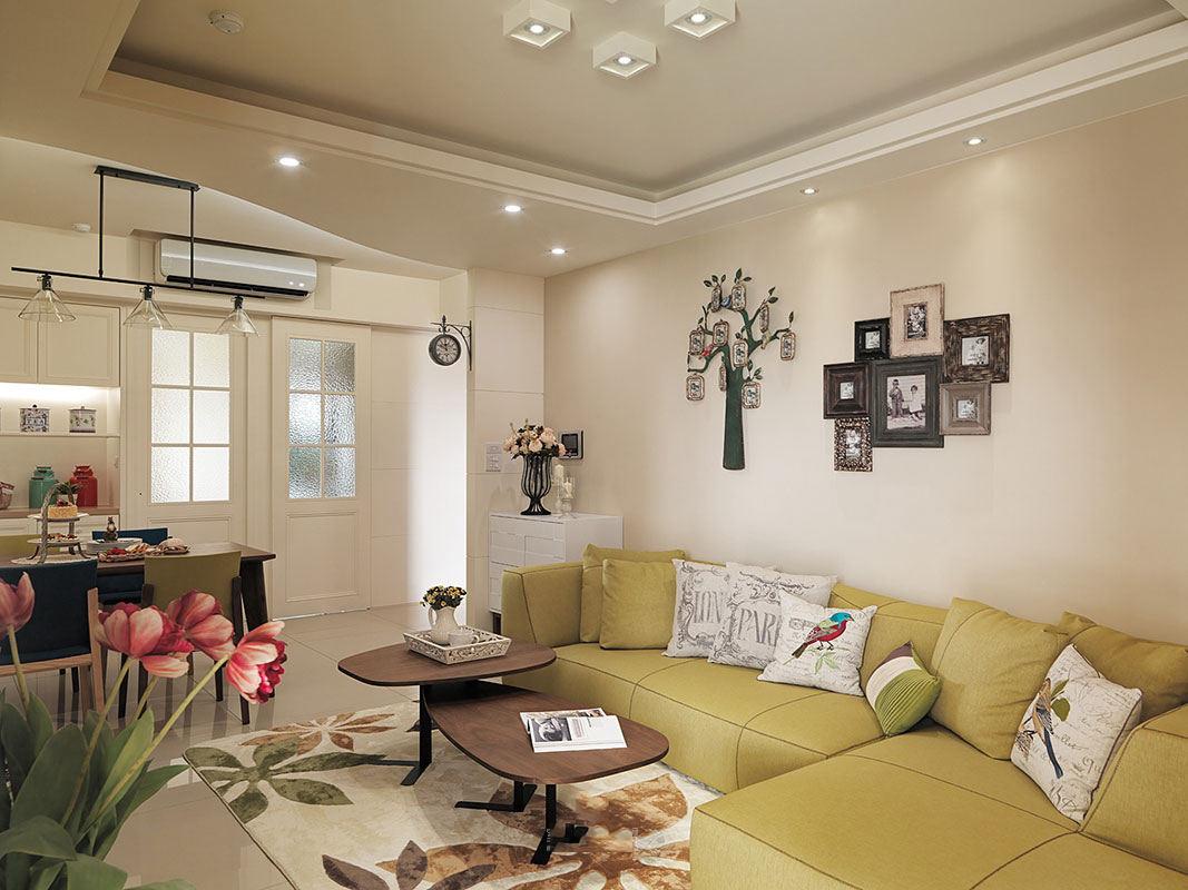 清新宜家田园家装客厅沙发背景照片墙欣赏
