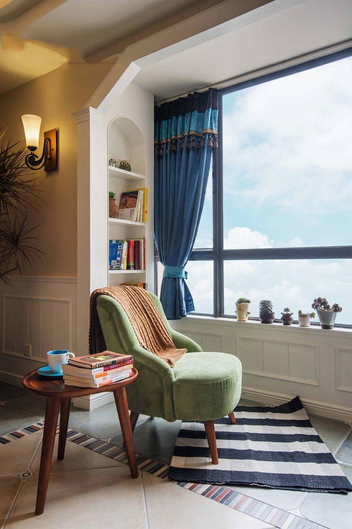 优雅蓝色田园设计休闲区窗帘效果图欣赏
