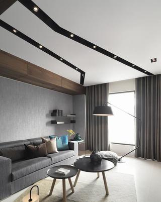 个性灰色系现代工业风混搭小户型公寓装潢设计