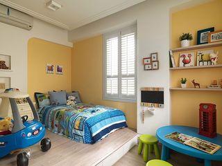 田园风光儿童房黄色背景墙装饰图