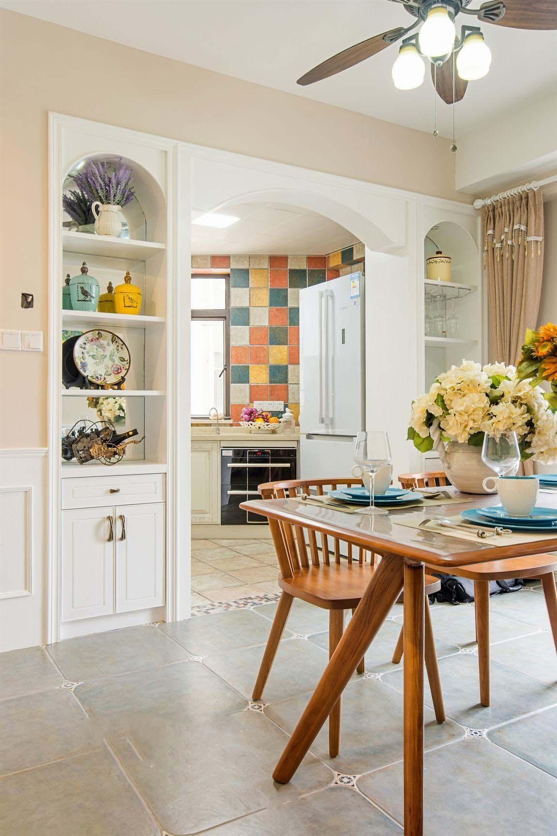 美式乡村田园风厨房客厅隔断装饰效果图