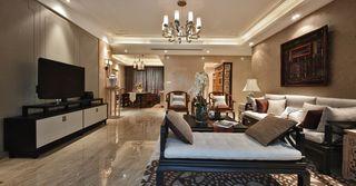 108平温馨暖咖色新中式三室两厅装潢大全