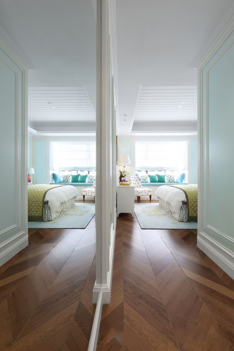 清新浪漫简约美式卧室隔断效果图