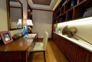 沉稳东南亚设计书房整体书架效果图