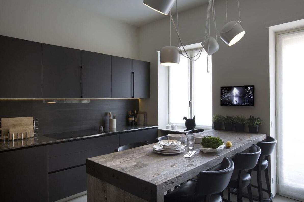 黑白简约设计开放式厨餐厅装饰效果图