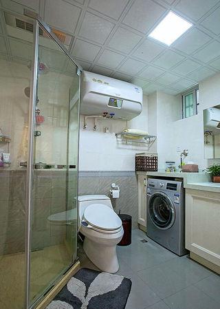 简欧田园风格整体卫生间铝扣板吊顶效果图
