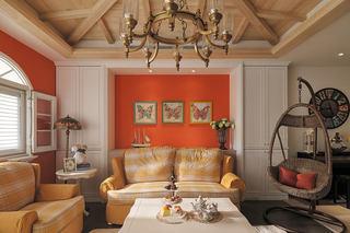 甜美橙色田园风客厅沙发背景墙装饰