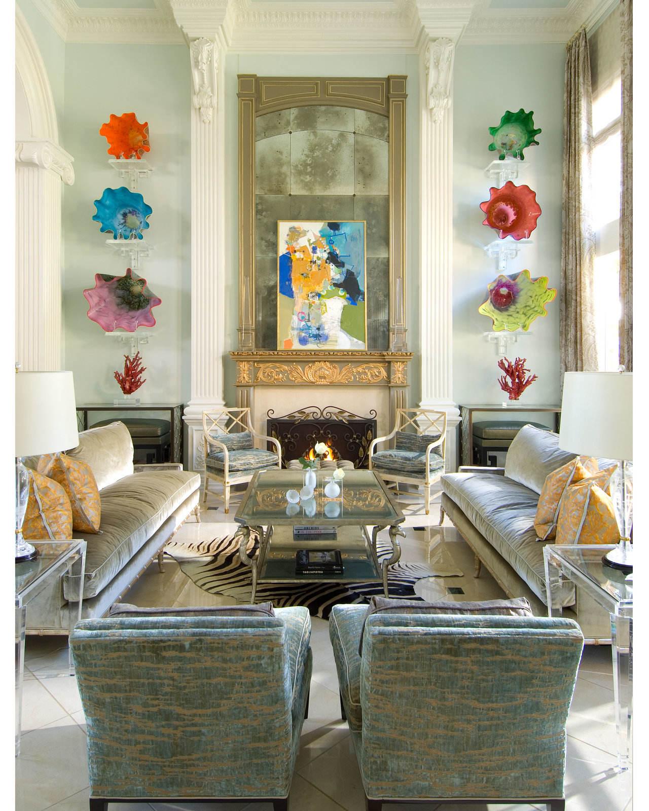 优雅精致美式风客厅沙发背景墙设计效果图