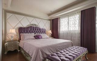 浪漫香芋紫简欧式卧室软包设计
