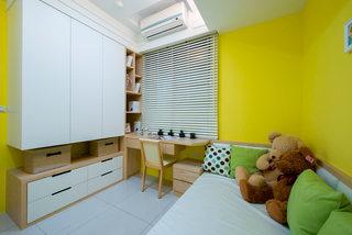 简约儿童房黄色背景墙设计装饰图
