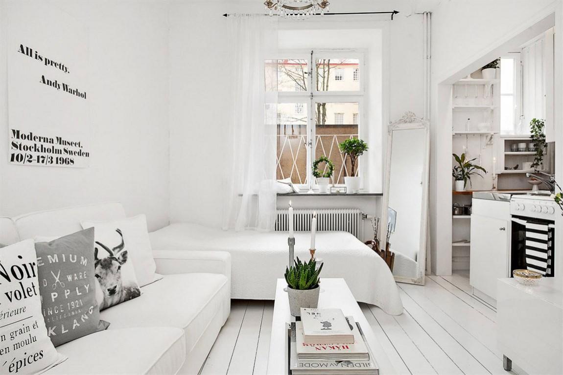 40平小户型单身公寓白色极简北欧风格装修效果图
